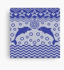 Dolphins knitted pattern Canvas Print