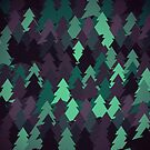 Green, brown and blue forest. Spruce forest illustration. Nature background of trees. Green trees texture. Wood drawings. Wanderlust. Adventure and nature by aquapixel