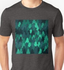 Spruce forest illustration. Nature background of trees. Green trees texture. Wood drawings. Wanderlust. Adventure and nature T-Shirt