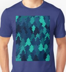 Blue woodland. Spruce forest illustration. Nature background of trees. Green trees texture. Wood drawings. Wanderlust. Adventure and nature T-Shirt