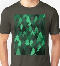 Green woodland. Spruce forest illustration. Nature background of trees. Green trees texture. Wood drawings. Wanderlust. Adventure and nature T-Shirt