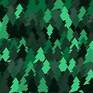 Green woodland. Spruce forest illustration. Nature background of trees. Green trees texture. Wood drawings. Wanderlust. Adventure and nature by aquapixel