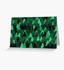 Green woodland. Spruce forest illustration. Nature background of trees. Green trees texture. Wood drawings. Wanderlust. Adventure and nature Greeting Card