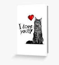 GREY CAT I LOVE YOU Greeting Card