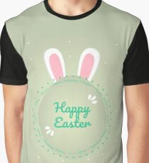 Happy Easter. Modern illustration of easter egg and bunny ears. Green background Graphic T-Shirt
