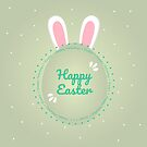 Happy Easter. Modern illustration of easter egg and bunny ears. Green background by aquapixel
