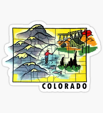 Colorado State Graphic Map Vintage Travel Decal Sticker