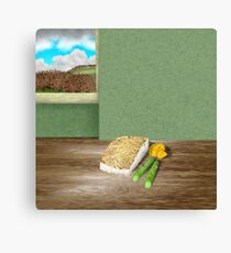 Pan fried fillet of fish with asparagus and miniature roast potatoes Canvas Print