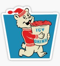 Icy Drink Bear Vintage Sign Logo  Sticker