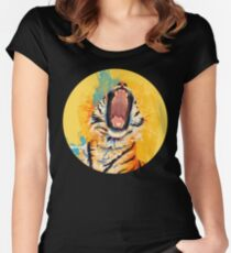 Wild Yawn - Tiger portrait, colorful tiger, animal illustration Women's Fitted Scoop T-Shirt