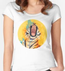 Wild Yawn - Tiger portrait Women's Fitted Scoop T-Shirt