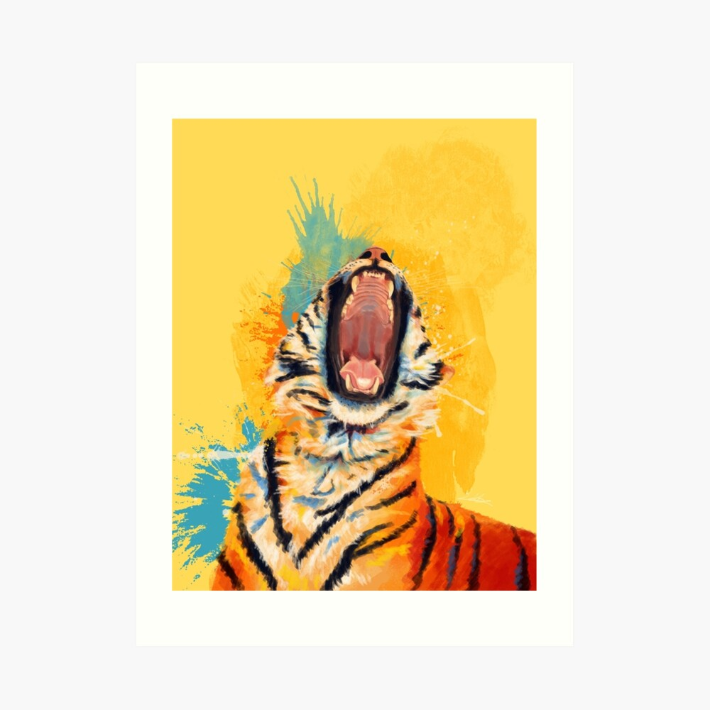 Wildes Gähn - Tigerporträt, bunter Tiger, Tierillustration Kunstdruck