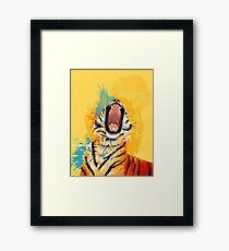Wild Yawn - Tiger portrait, colorful tiger, animal illustration Framed Print