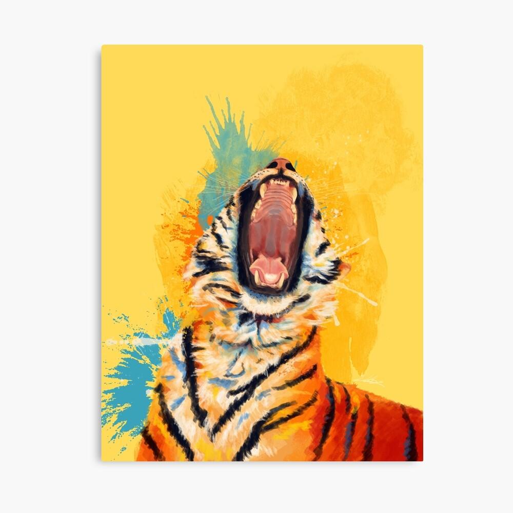 Wild Yawn - Tiger portrait, colorful tiger, animal illustration Canvas Print