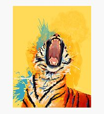 Wild Yawn - Tiger portrait, colorful tiger, animal illustration Photographic Print