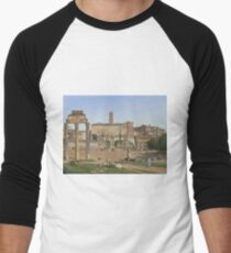 Christoffer Wilhelm Eckersberg - View Of The Forum In Rome Men's Baseball ¾ T-Shirt