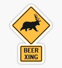 Bear Deer Beer Crossing Sticker