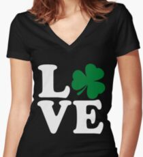 St Patrick's Day LOVE Shamrock Irish Women's Fitted V-Neck T-Shirt