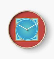 A Simplistic and Moody Clock  Design in Light Tan with a Red Centre Clock