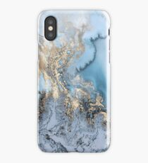 Blue Gold Marble iPhone Case