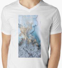 Blue Gold Marble Men's V-Neck T-Shirt