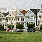 """""""Six Sisters"""" in San Fransisco in Faux Oil by Rob Chiarolli"""