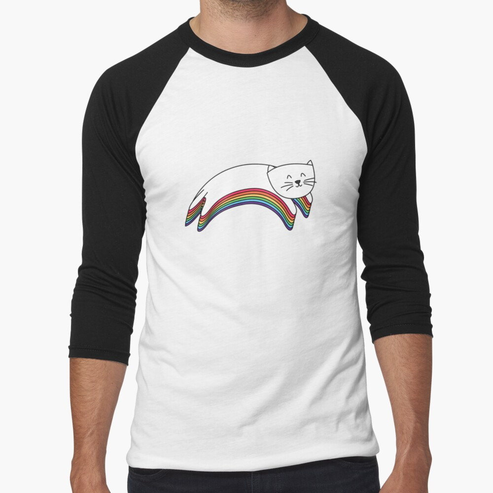 Rainbow Kitty Baseball ¾ Sleeve T-Shirt