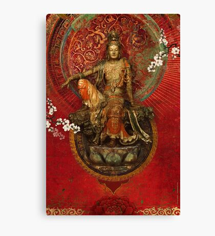 Kwanyin on Red Canvas Print