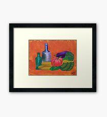 Vegetables, bananas & glass bottles Framed Print