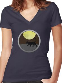 Cat Walk at Night Women's Fitted V-Neck T-Shirt