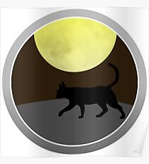 Cat Walk at Night Poster