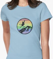 skiing 1 distressed Women's Fitted T-Shirt