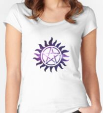 Supernatural Galaxy Anti Possession Symbol  Women's Fitted Scoop T-Shirt