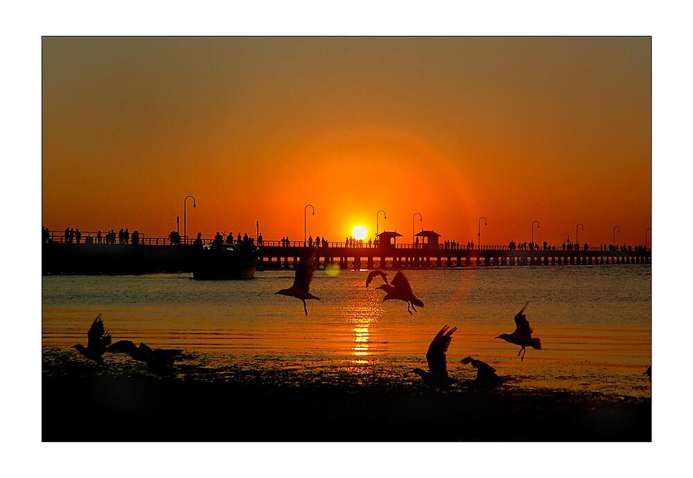 st kilda beach sunset by Melinda Kerr