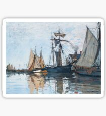 Claude Monet - Boats In The Port Of Honfleur, 1866 Sticker