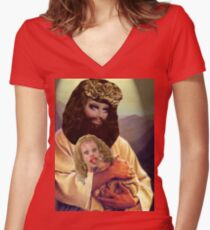 Drag Jesus Trixie with a Katya Lamb Women's Fitted V-Neck T-Shirt