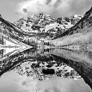 Contrasting Reflections - Maroon Bells Mountains - Aspen Colorado by Gregory Ballos