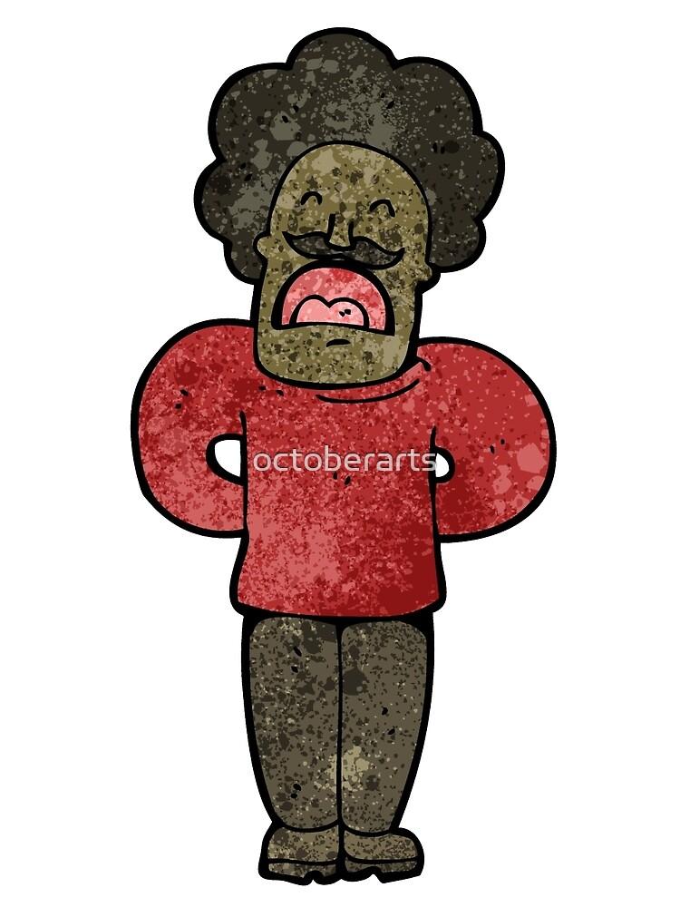 cartoon man with mustache talking von octoberarts