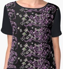 enlighted female silhouette with pink butterflies Women's Chiffon Top