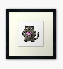 cute cartoon black cat Framed Print