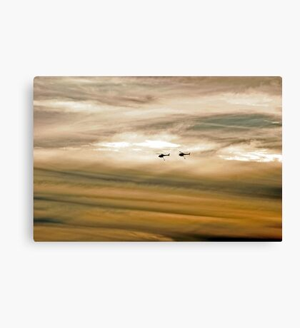Helitankers At Sunset  Canvas Print