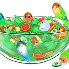 Birb Salad - Peach Faces by Radiantglyph