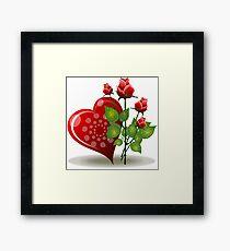 Flowers heart nature romance roses valentines Framed Print