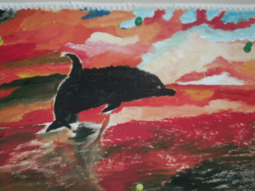 dolphin in the ocean painting by oilersfan11