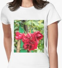 Wet red roses Womens Fitted T-Shirt