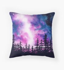 Galaxies and pine trees Throw Pillow