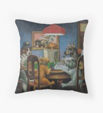 Dogs Playing D&D Throw Pillow