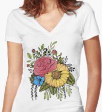 SUNFLOWER & ROSE Women's Fitted V-Neck T-Shirt