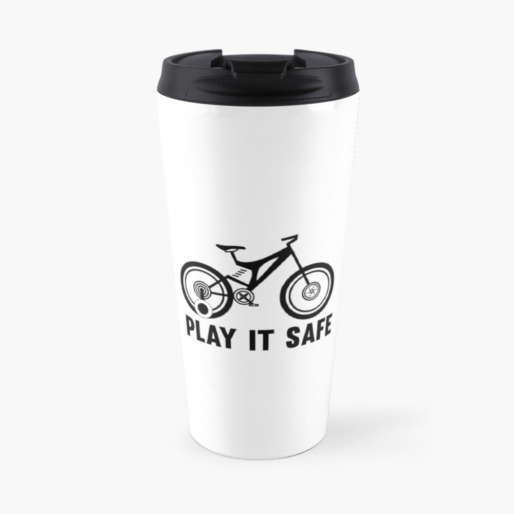 Play it safe funny player kids bike logo text design for friend brother sister an family travel mug by sago design redbubble