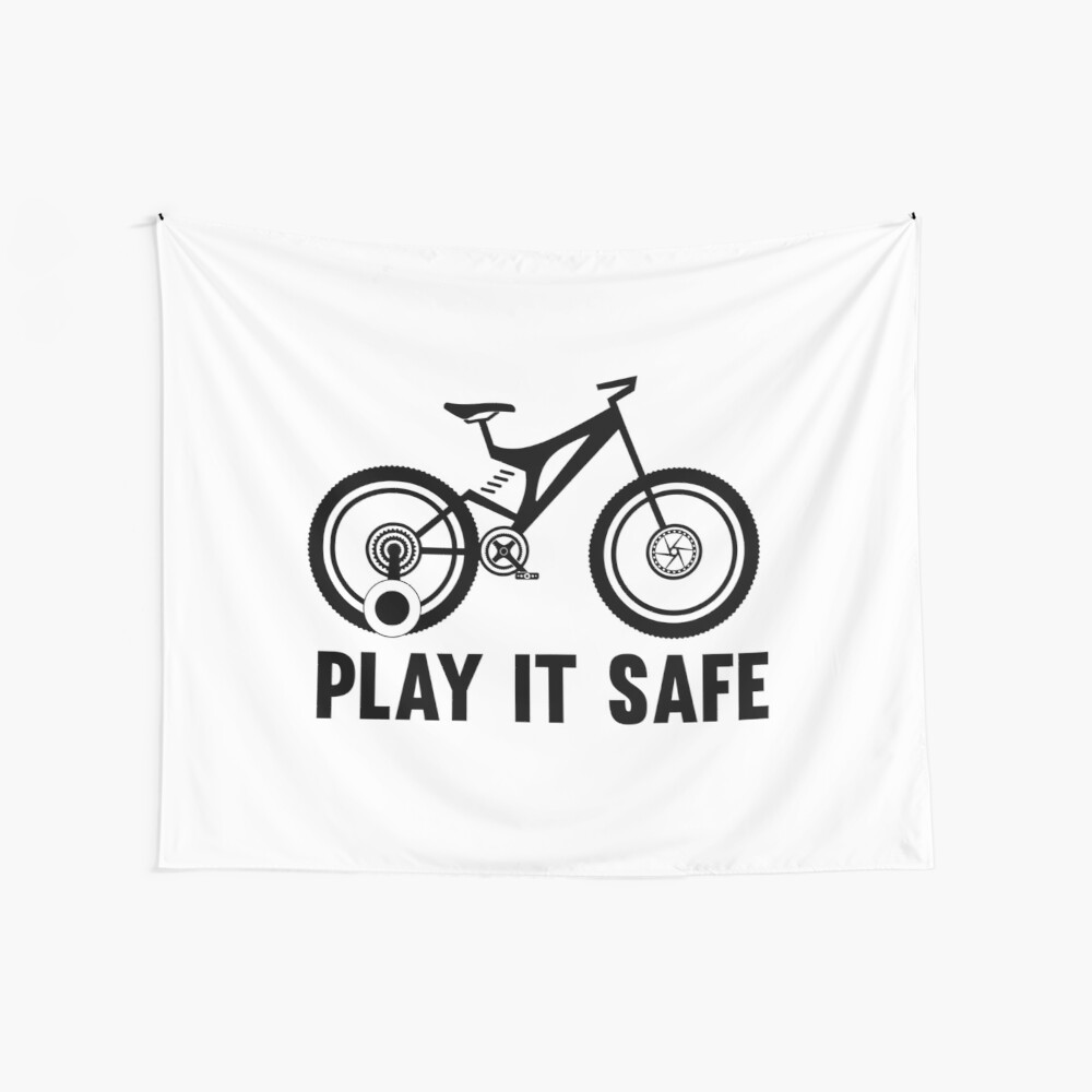 Play it safe funny player kids bike logo text design for friend brother sister an family wall tapestry by sago design redbubble